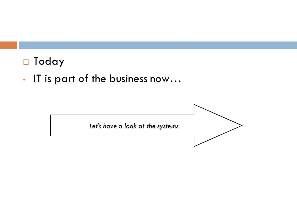 Today IT is part of the business now… Lets have a look at the systems