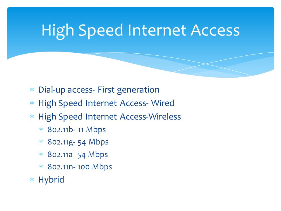 Dial-up access- First generation High Speed Internet Access- Wired High Speed Internet Access-Wireless 802.11b- 11 Mbps 802.11g- 54 Mbps 802.11a- 54 Mbps 802.11n- 100 Mbps Hybrid High Speed Internet Access