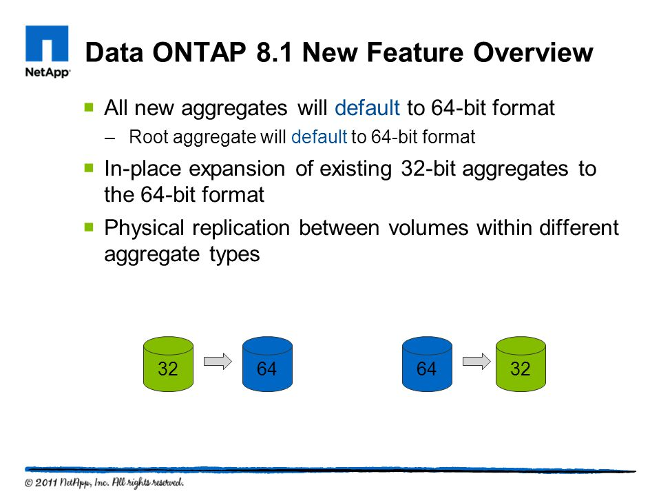 Data ONTAP 8.1 New Feature Overview All new aggregates will default to 64-bit format –Root aggregate will default to 64-bit format In-place expansion of existing 32-bit aggregates to the 64-bit format Physical replication between volumes within different aggregate types 32643264