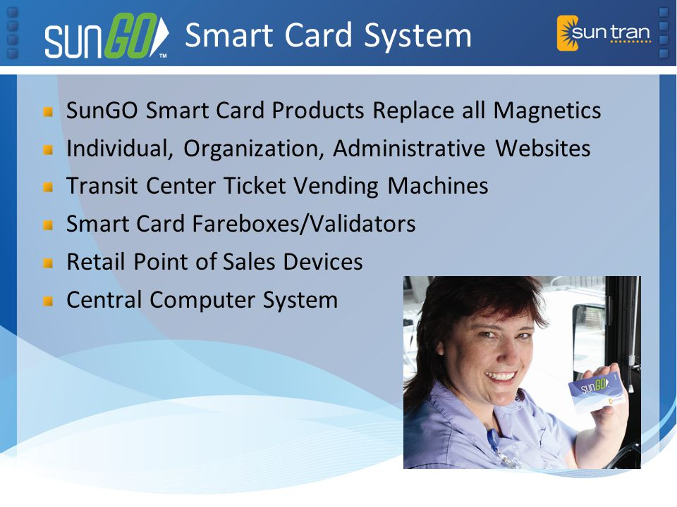 Smart Card System SunGO Smart Card Products Replace all Magnetics Individual, Organization, Administrative Websites Transit Center Ticket Vending Mach