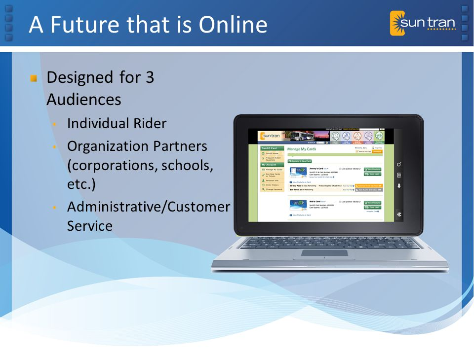 A Future that is Online Designed for 3 Audiences Individual Rider Organization Partners (corporations, schools, etc.) Administrative/Customer Service