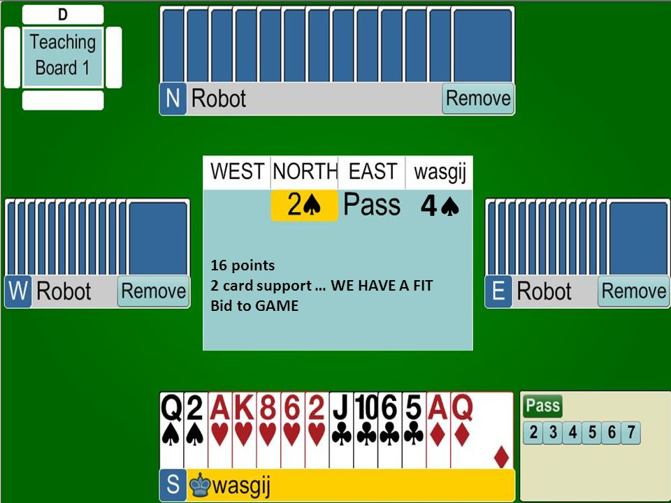 4 16 points 2 card support … WE HAVE A FIT Bid to GAME