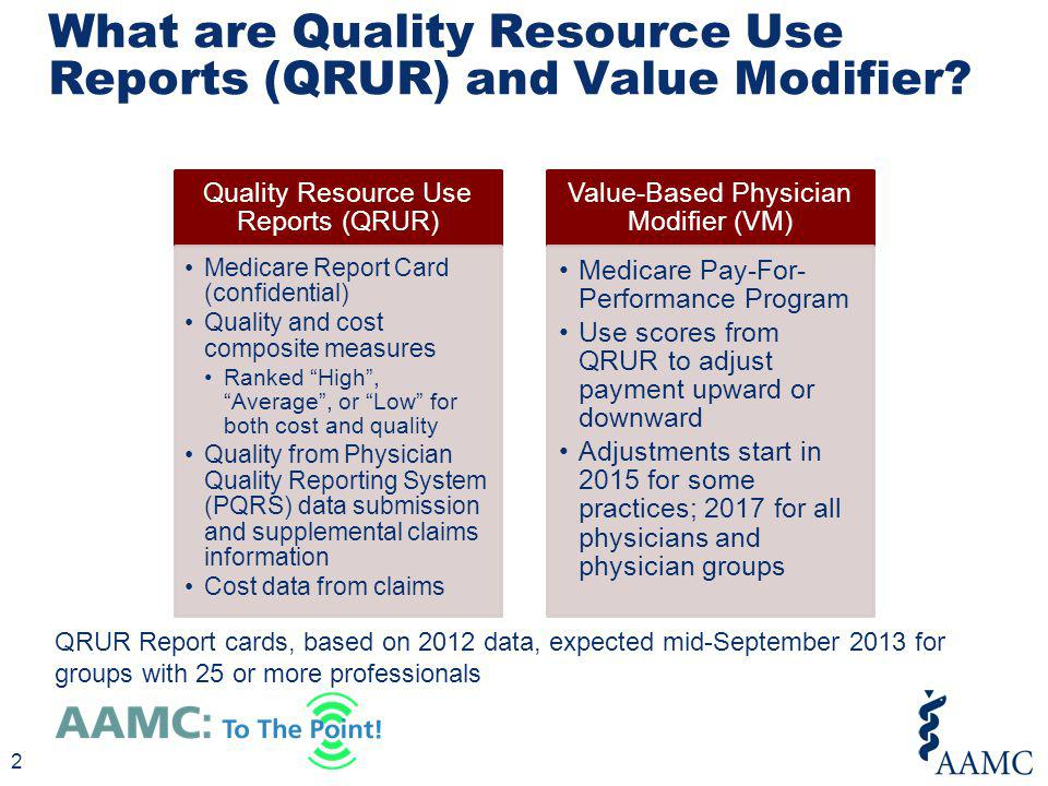 2 What are Quality Resource Use Reports (QRUR) and Value Modifier? 2 Quality Resource Use Reports (QRUR) Medicare Report Card (confidential) Quality a