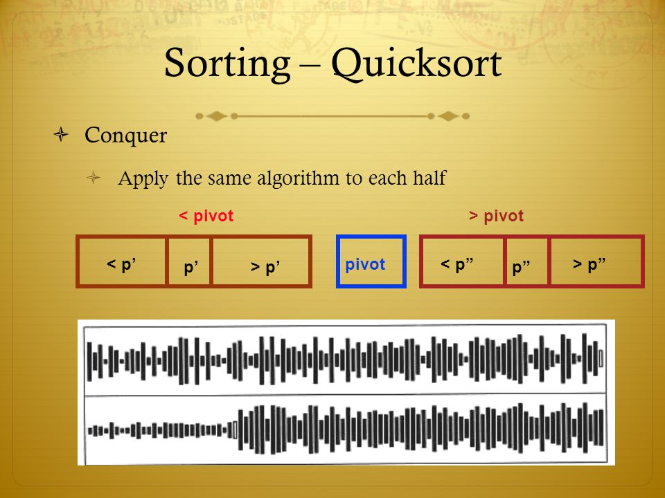 Sorting – Quicksort Conquer Apply the same algorithm to each half < pivot> pivot pivot< p p> p < p p > p