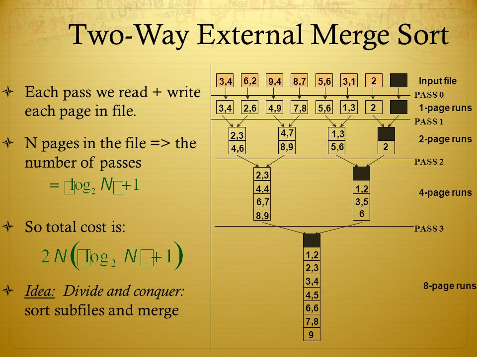 Two-Way External Merge Sort Each pass we read + write each page in file. N pages in the file => the number of passes So total cost is: Idea: Divide an