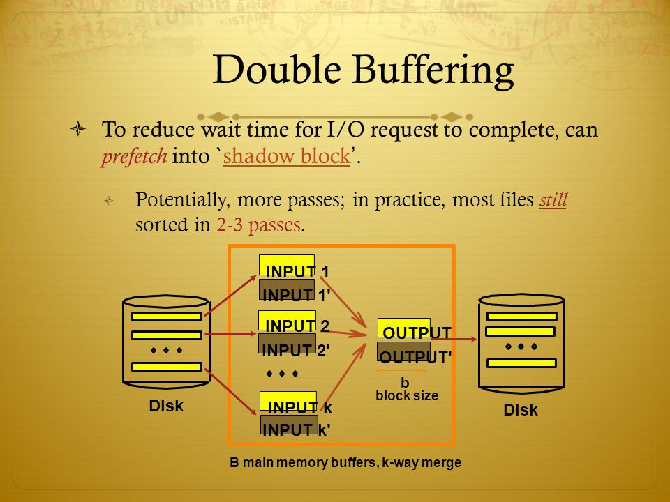 Double Buffering To reduce wait time for I/O request to complete, can prefetch into `shadow block. Potentially, more passes; in practice, most files s