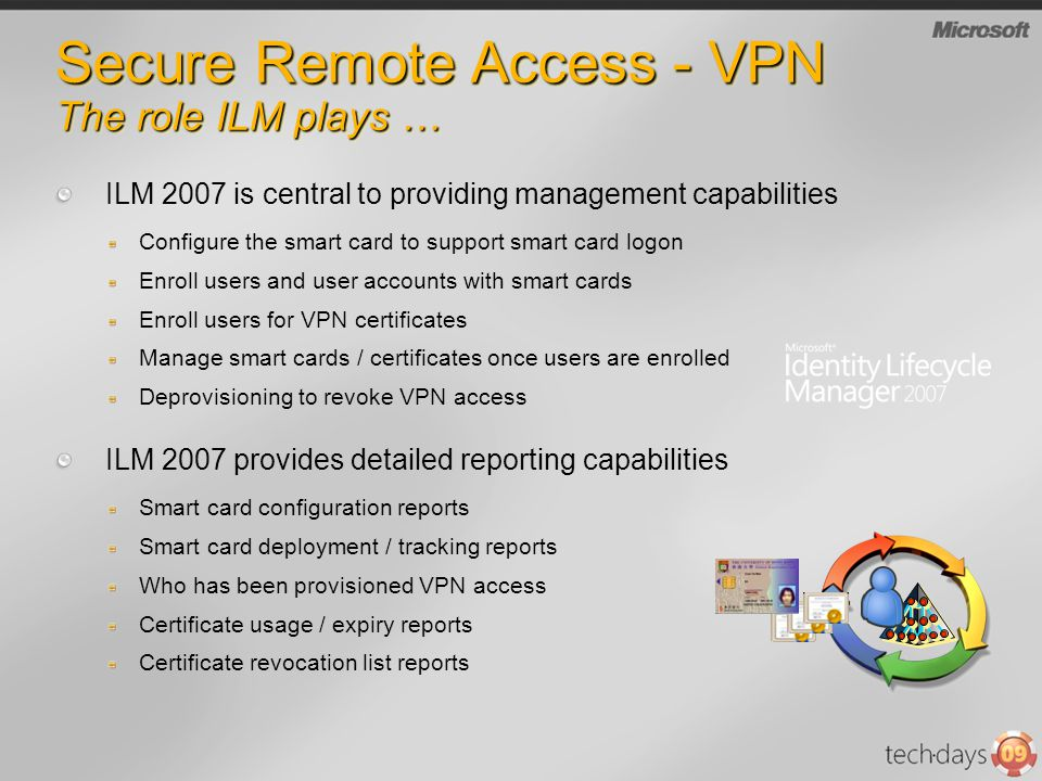 Secure Remote Access - VPN The role ILM plays … ILM 2007 is central to providing management capabilities Configure the smart card to support smart car