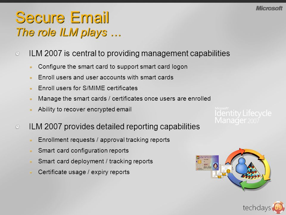 Secure Email The role ILM plays … ILM 2007 is central to providing management capabilities Configure the smart card to support smart card logon Enroll