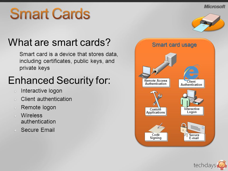 Interactive logon Client authentication Remote logon Wireless authentication Secure Email Smart card is a device that stores data, including certifica
