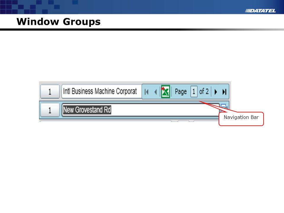 Window Groups Navigation Bar