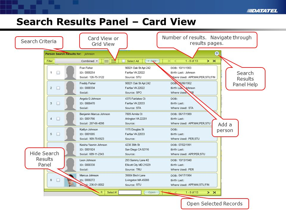 Search Results Panel – Card View Search Results Panel Help Open Selected Records Hide Search Results Panel Add a person Number of results. Navigate th