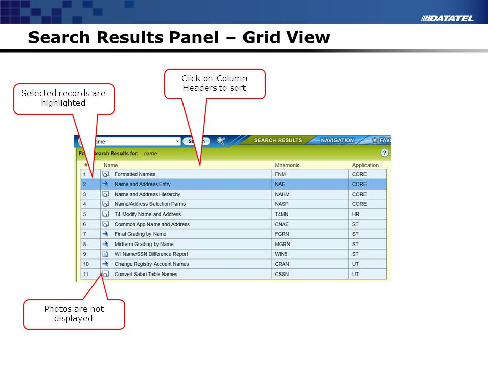 Search Results Panel – Grid View Click on Column Headers to sort Photos are not displayed Selected records are highlighted