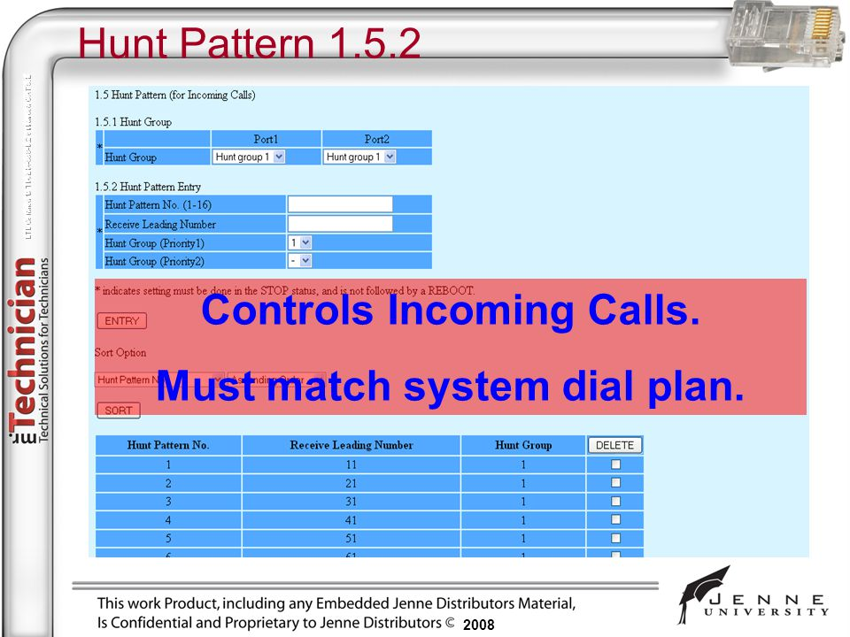 2008 Hunt Pattern 1.5.2 Controls Incoming Calls. Must match system dial plan.