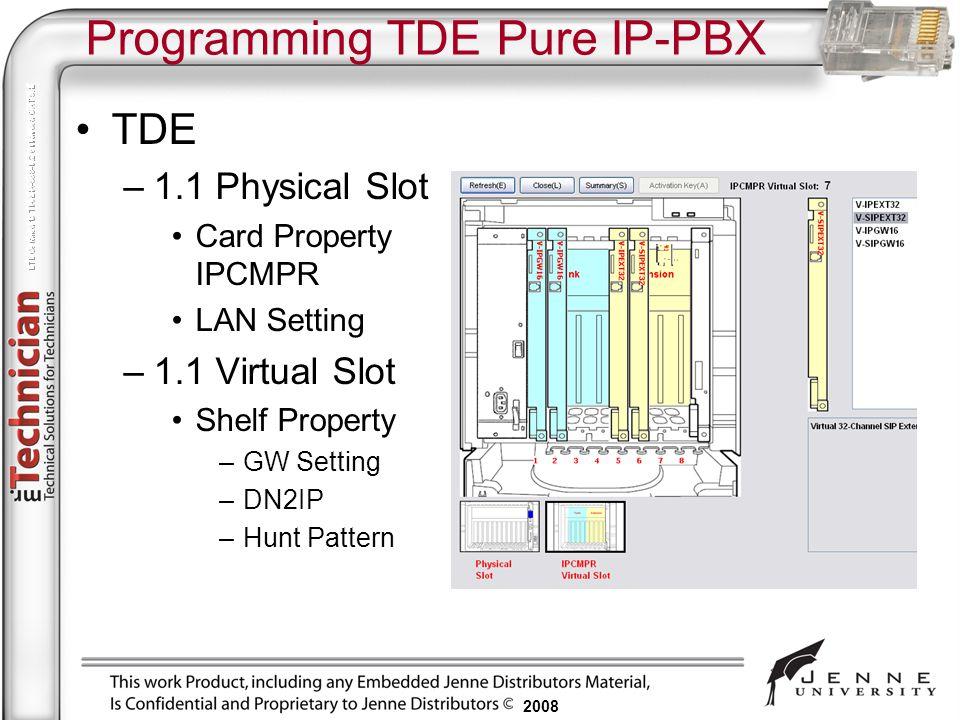2008 Programming TDE Pure IP-PBX TDE –1.1 Physical Slot Card Property IPCMPR LAN Setting –1.1 Virtual Slot Shelf Property –GW Setting –DN2IP –Hunt Pat