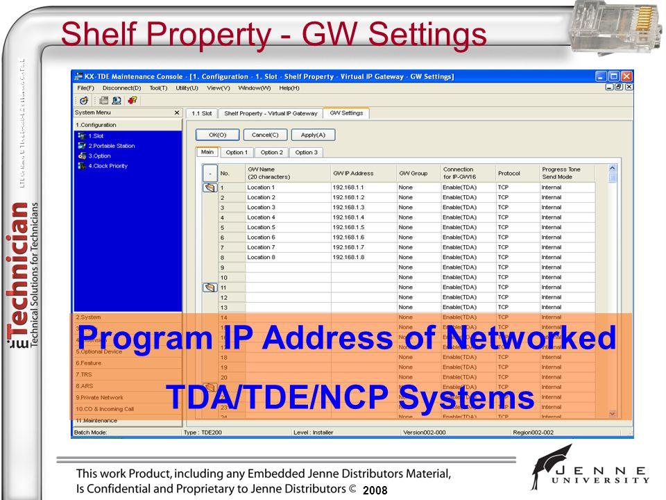 2008 Shelf Property - GW Settings Program IP Address of Networked TDA/TDE/NCP Systems