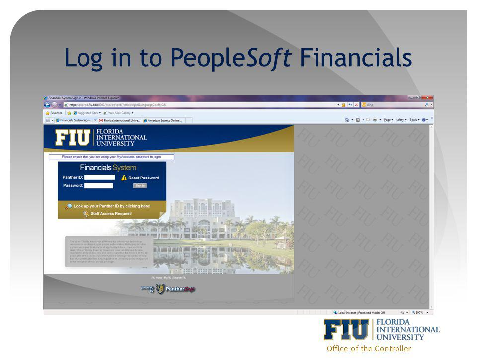 Log in to PeopleSoft Financials Office of the Controller