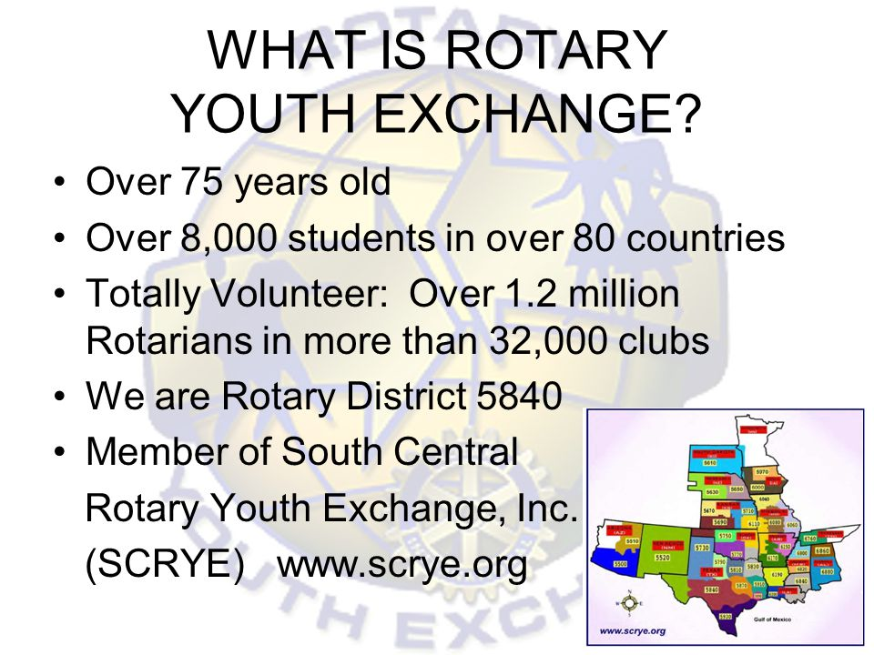 WHAT IS ROTARY YOUTH EXCHANGE? Over 75 years old Over 8,000 students in over 80 countries Totally Volunteer: Over 1.2 million Rotarians in more than 3