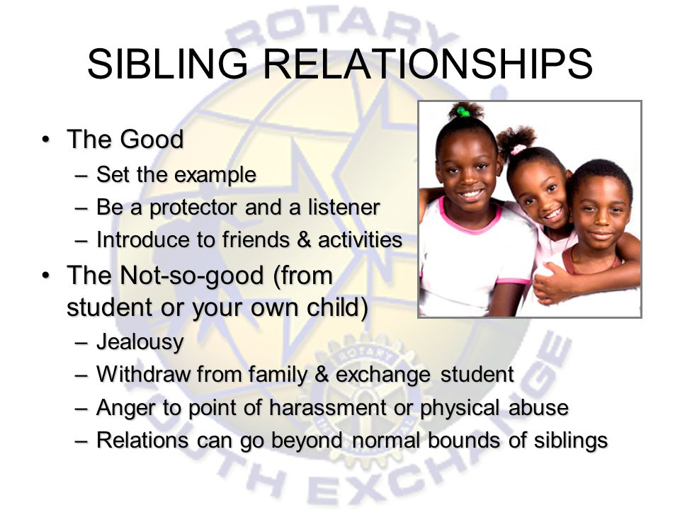 SIBLING RELATIONSHIPS The GoodThe Good –Set the example –Be a protector and a listener –Introduce to friends & activities The Not-so-good (from student or your own child)The Not-so-good (from student or your own child) –Jealousy –Withdraw from family & exchange student –Anger to point of harassment or physical abuse –Relations can go beyond normal bounds of siblings