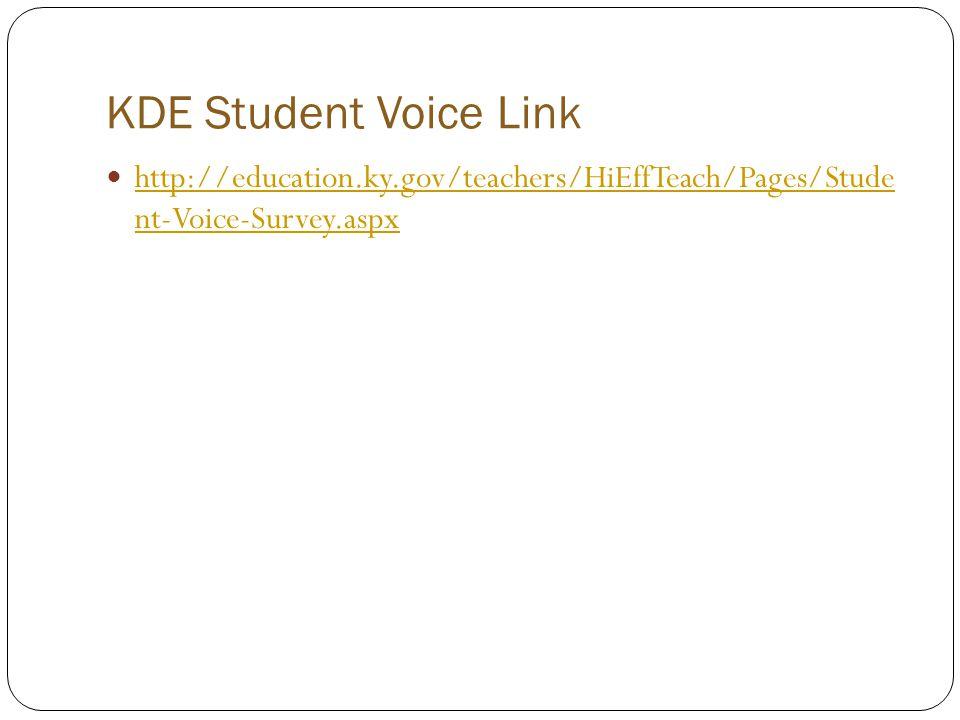 KDE Student Voice Link http://education.ky.gov/teachers/HiEffTeach/Pages/Stude nt-Voice-Survey.aspx http://education.ky.gov/teachers/HiEffTeach/Pages/