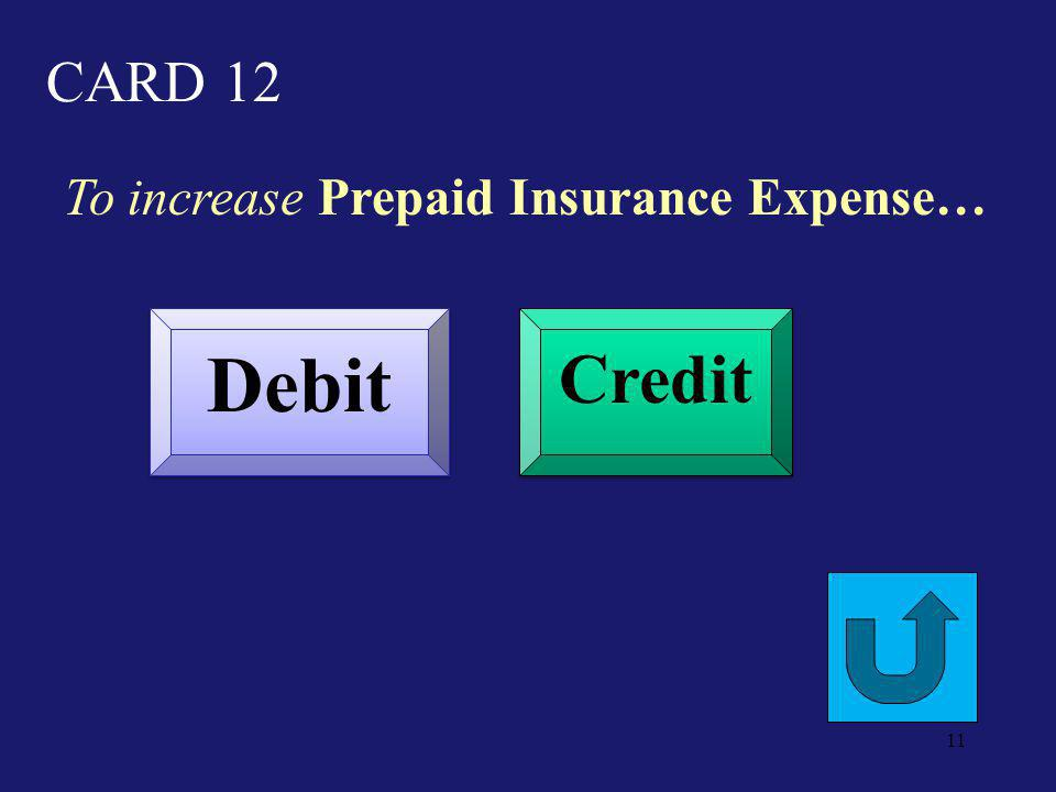 CARD 7 To decrease Retained Earnings… Debit Credit 10