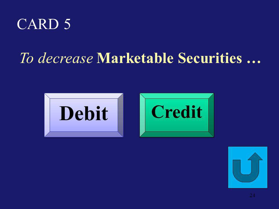 CARD 24 To increase Merchandise Inventory Debit Credit 23