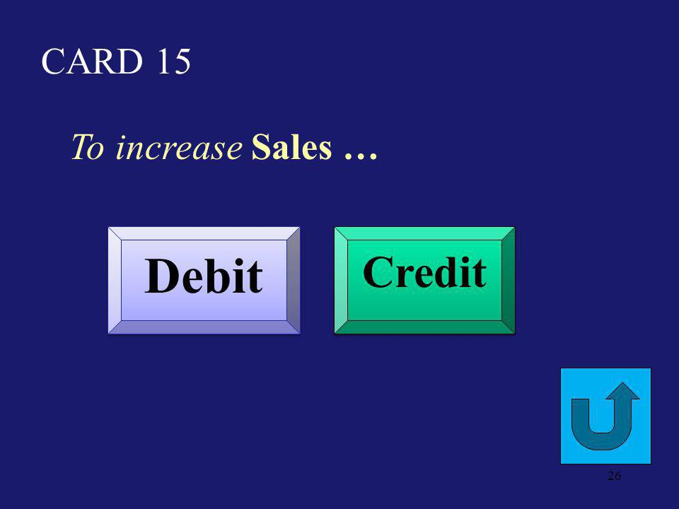 CARD 10 To decrease Prepaid Rent Expense Debit Credit 25