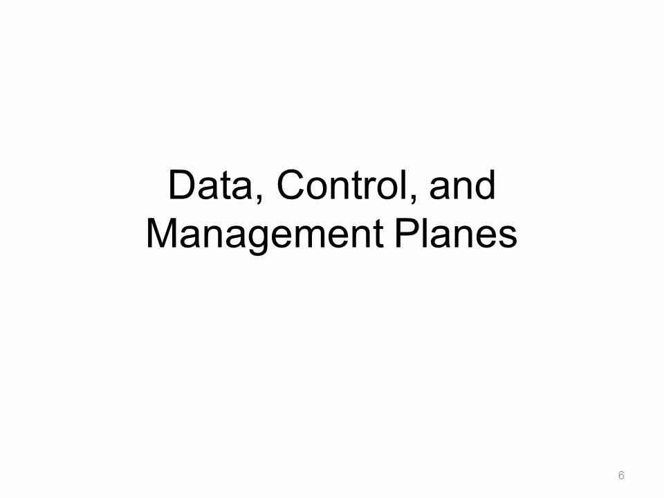 Data, Control, and Management Planes 6