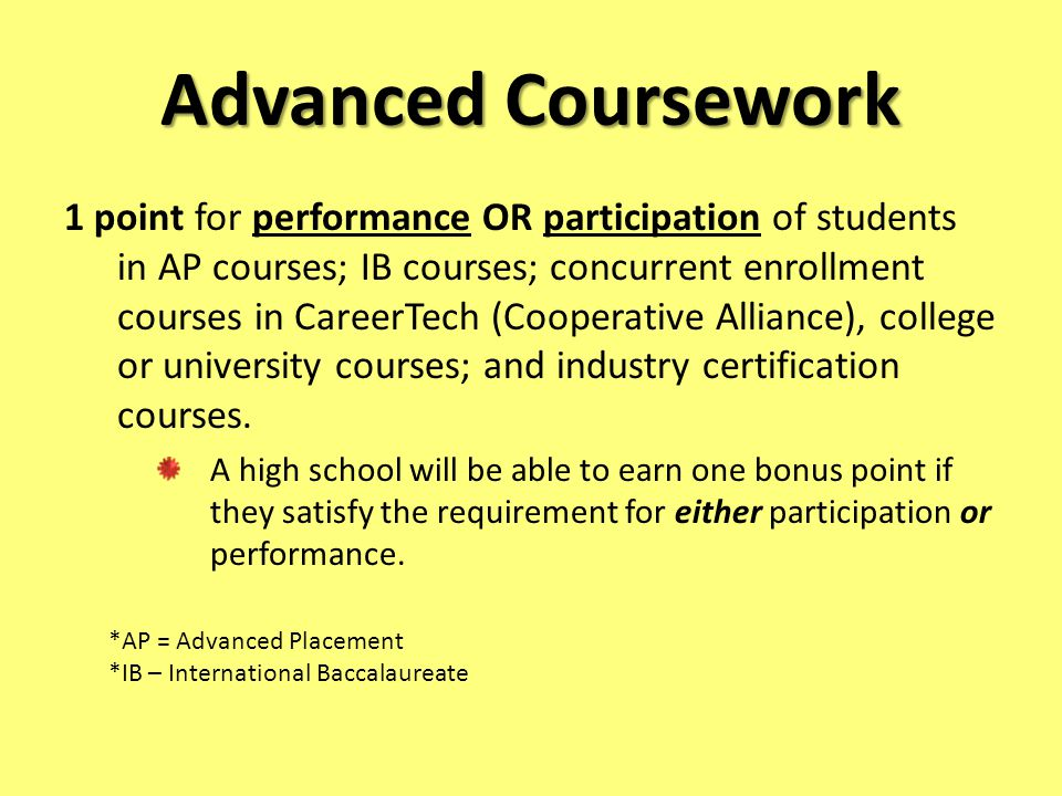 Advanced Coursework 1 point for performance OR participation of students in AP courses; IB courses; concurrent enrollment courses in CareerTech (Cooperative Alliance), college or university courses; and industry certification courses.