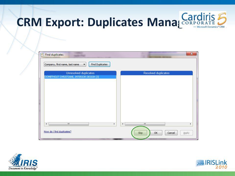 CRM Export: Duplicates Management
