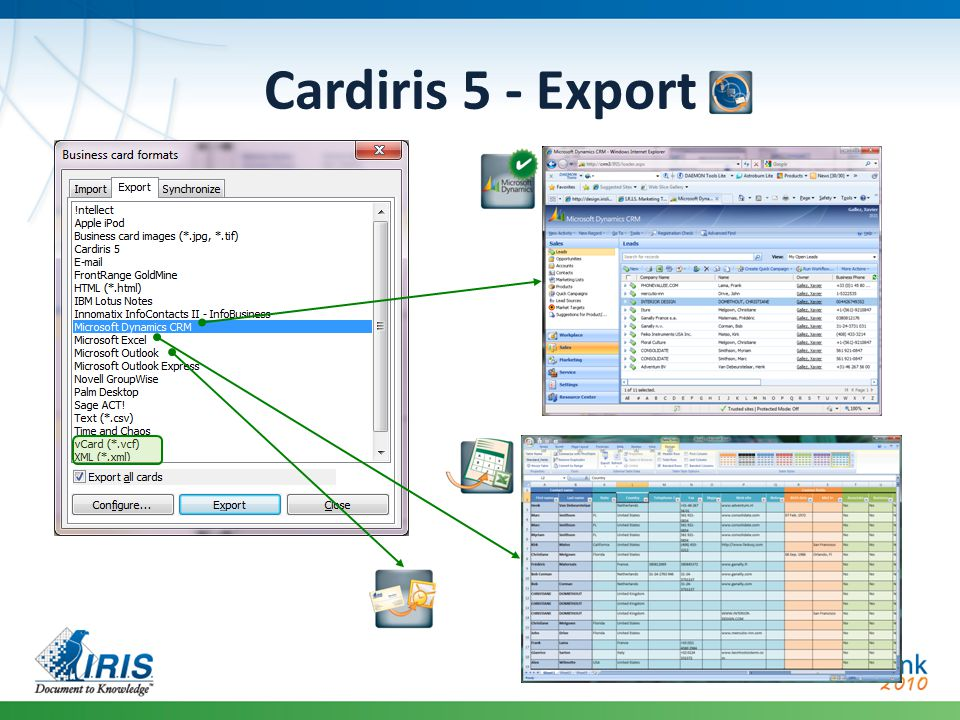Cardiris 5 – Demo Scanning single cards Editing & organizing cards Exporting to MS Dynamics CRM