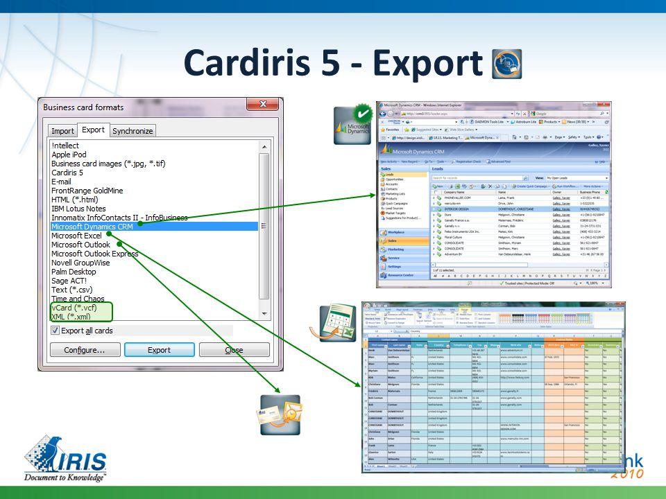 Cardiris 5 - Export