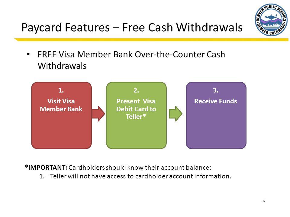 6 Paycard Features – Free Cash Withdrawals FREE Visa Member Bank Over-the-Counter Cash Withdrawals 1. Visit Visa Member Bank 2. Present Visa Debit Car