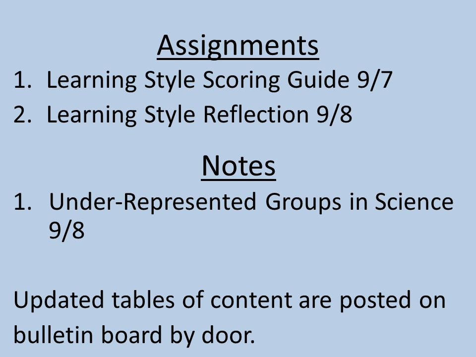 Assignments 1.Learning Style Scoring Guide 9/7 2.Learning Style Reflection 9/8 1.Under-Represented Groups in Science 9/8 Updated tables of content are