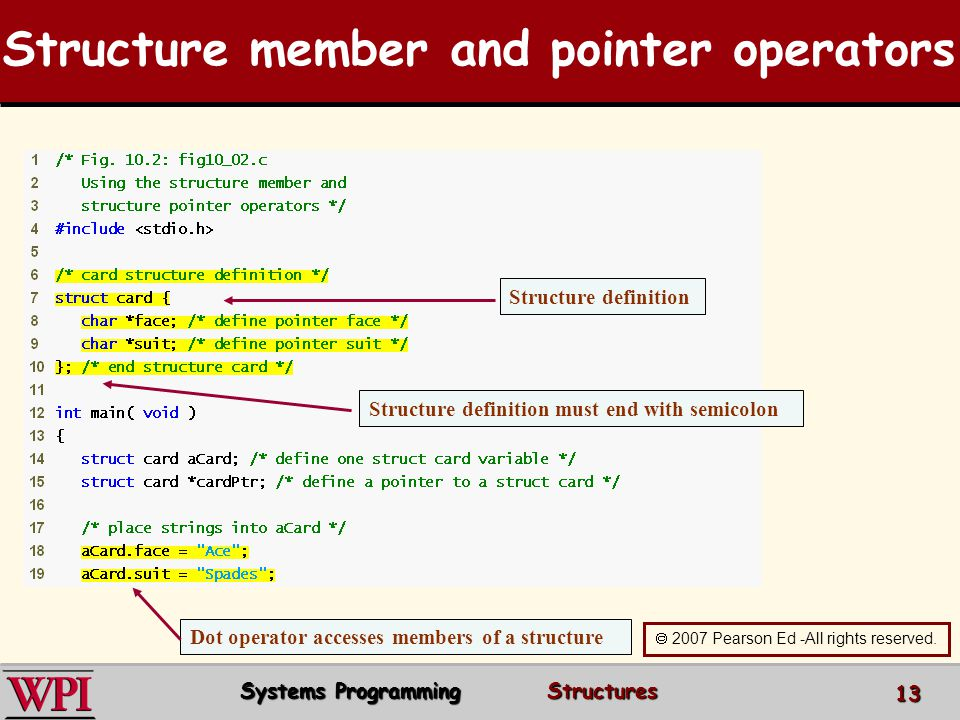 Structure member and pointer operators Structure definition Structure definition must end with semicolon Dot operator accesses members of a structure 2007 Pearson Ed -All rights reserved.