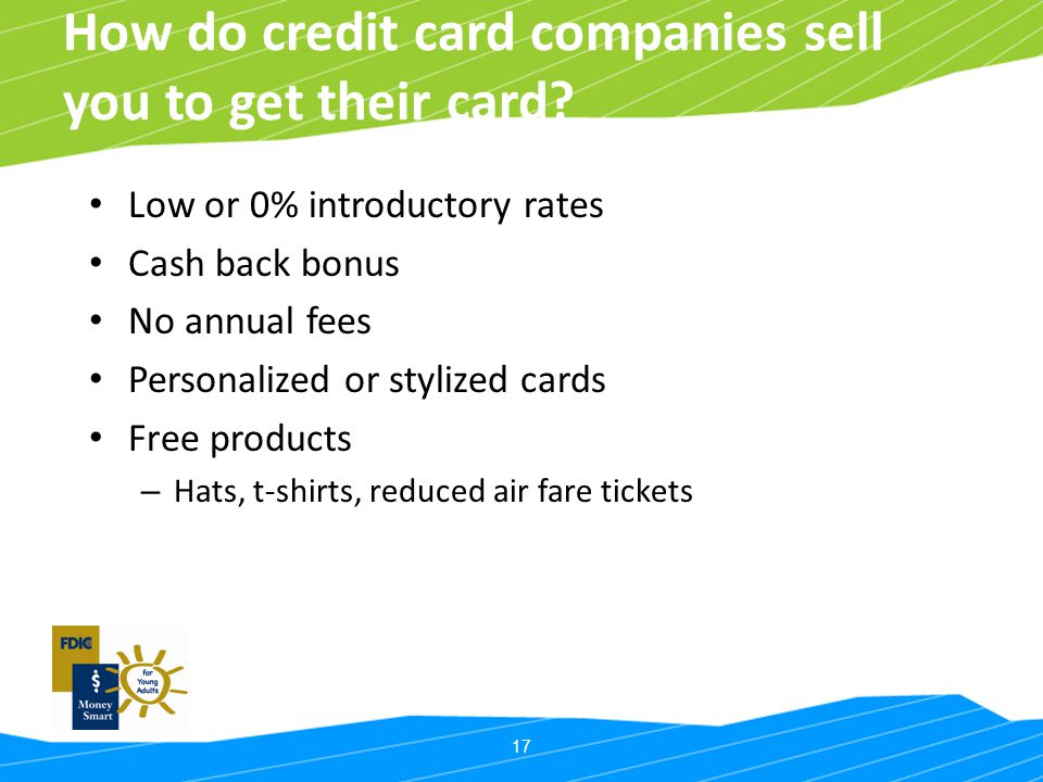 17 How do credit card companies sell you to get their card? Low or 0% introductory rates Cash back bonus No annual fees Personalized or stylized cards