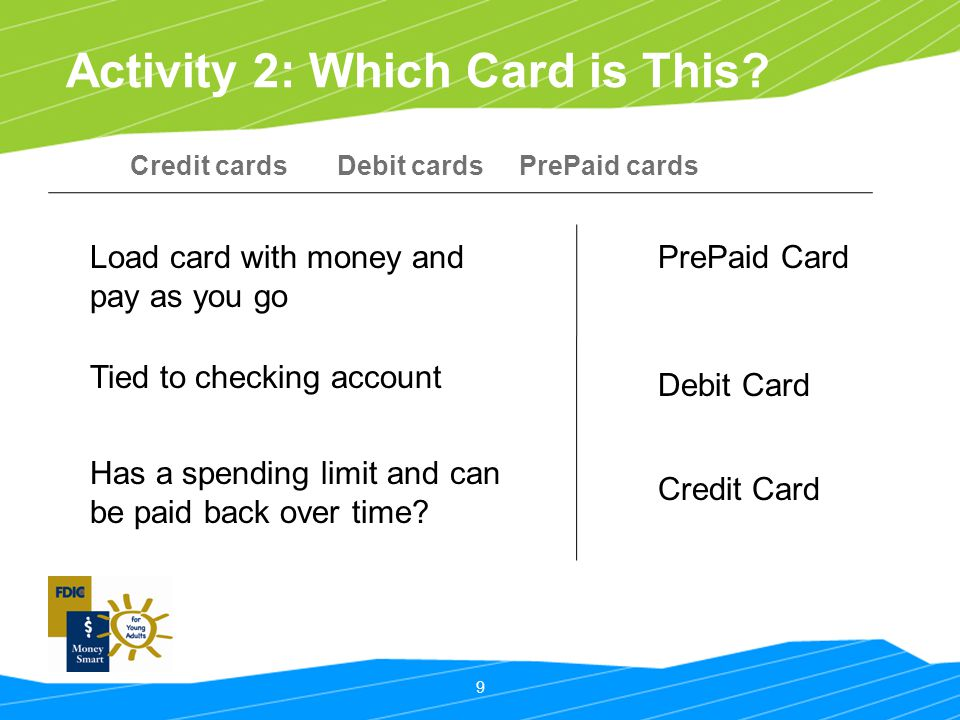 9 Activity 2: Which Card is This? Credit cards Debit cards PrePaid cards Load card with money and pay as you go Tied to checking account Has a spendin