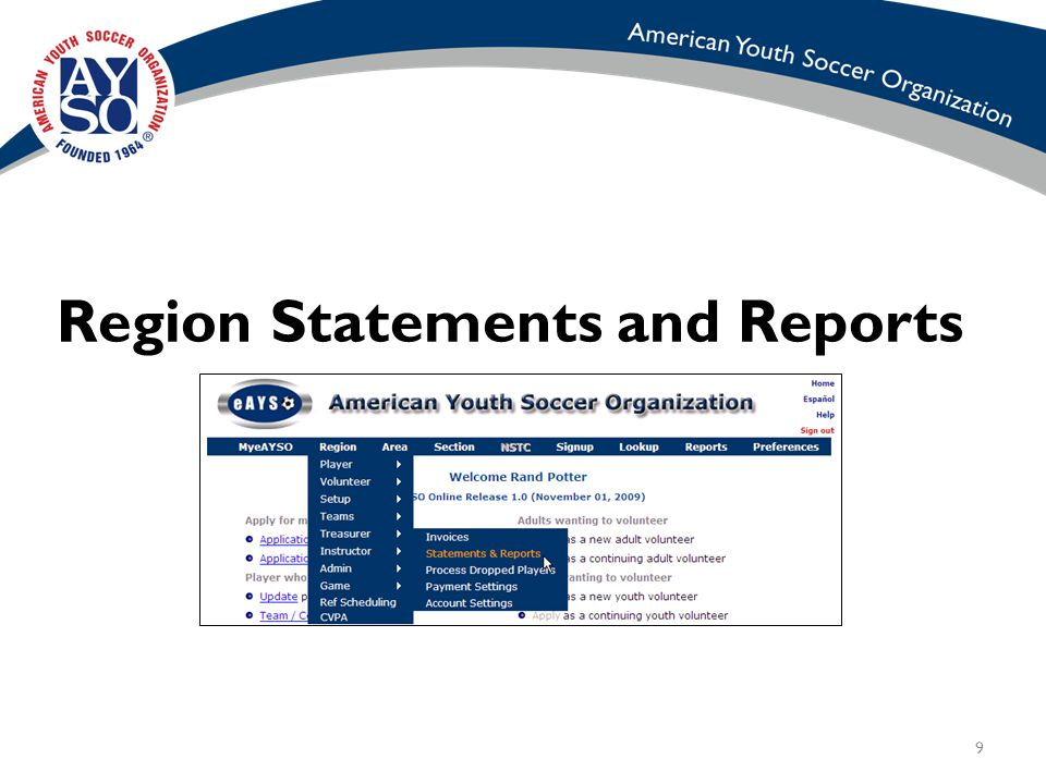 9 Region Statements and Reports