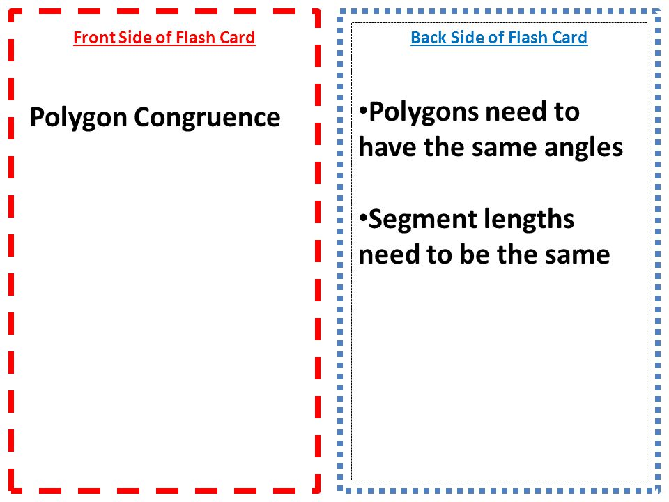 Front Side of Flash Card Calc.