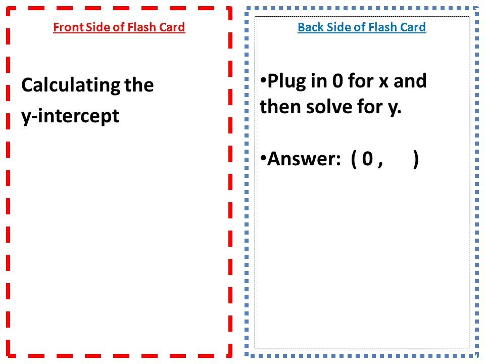 Front Side of Flash Card What is the equation of a line when given point and slope.
