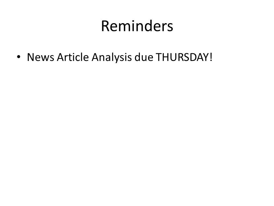 Reminders News Article Analysis due THURSDAY!