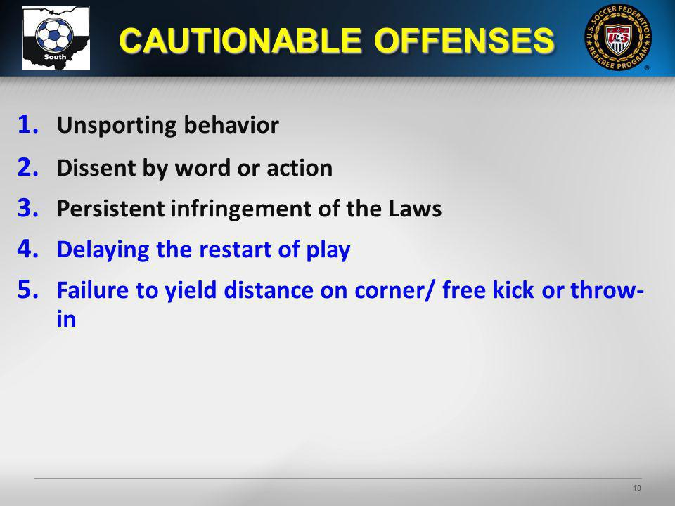 10 1. Unsporting behavior 2. Dissent by word or action 3. Persistent infringement of the Laws 4. Delaying the restart of play 5. Failure to yield dist