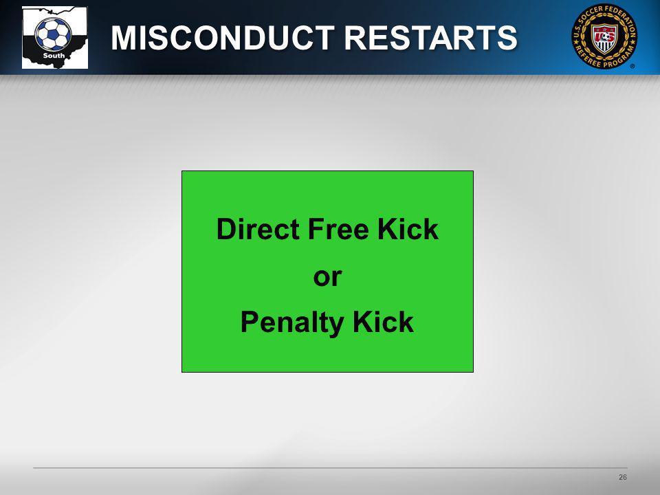 26 Direct Free Kick or Penalty Kick MISCONDUCT RESTARTS