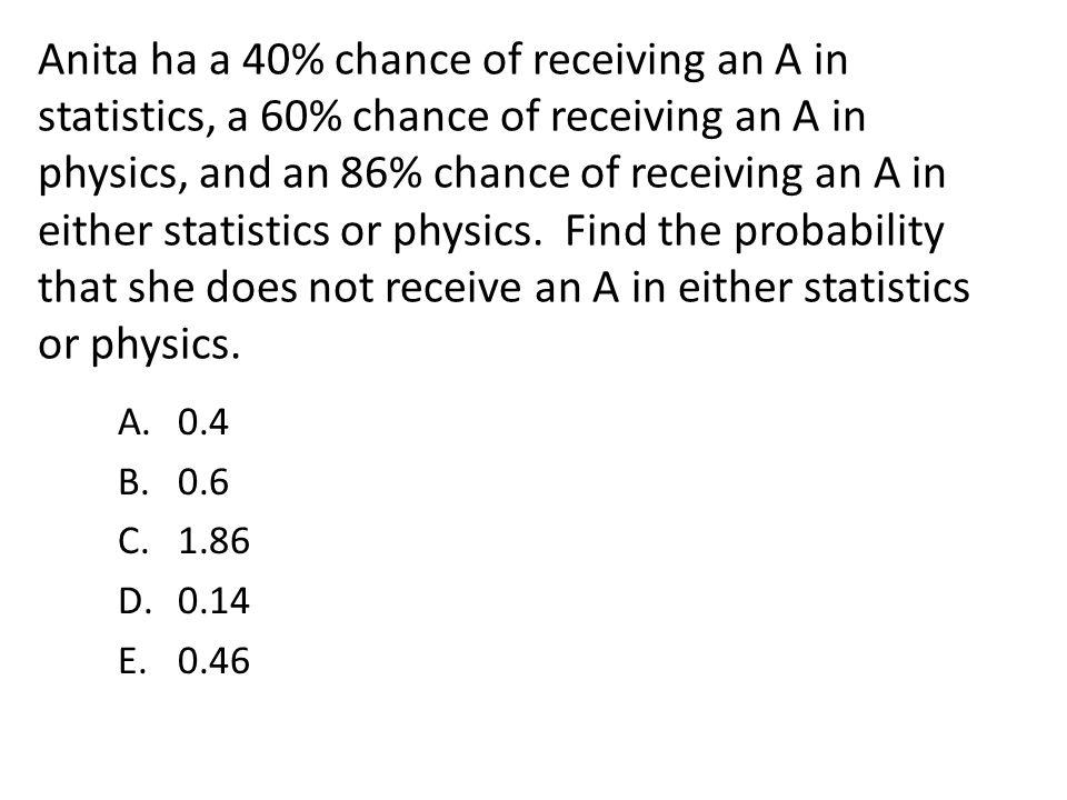Anita ha a 40% chance of receiving an A in statistics, a 60% chance of receiving an A in physics, and an 86% chance of receiving an A in either statis