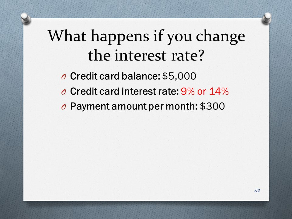 What happens if you change the interest rate.