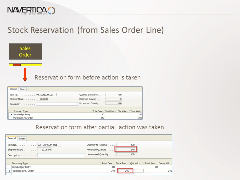 Stock Reservation (from Sales Order Line) Sales Order Reservation form before action is taken Reservation form after partial action was taken