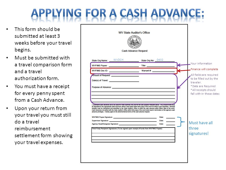 WVDCH0432 Your Information Finance will complete Must have all three signatures! This form should be submitted at least 3 weeks before your travel beg