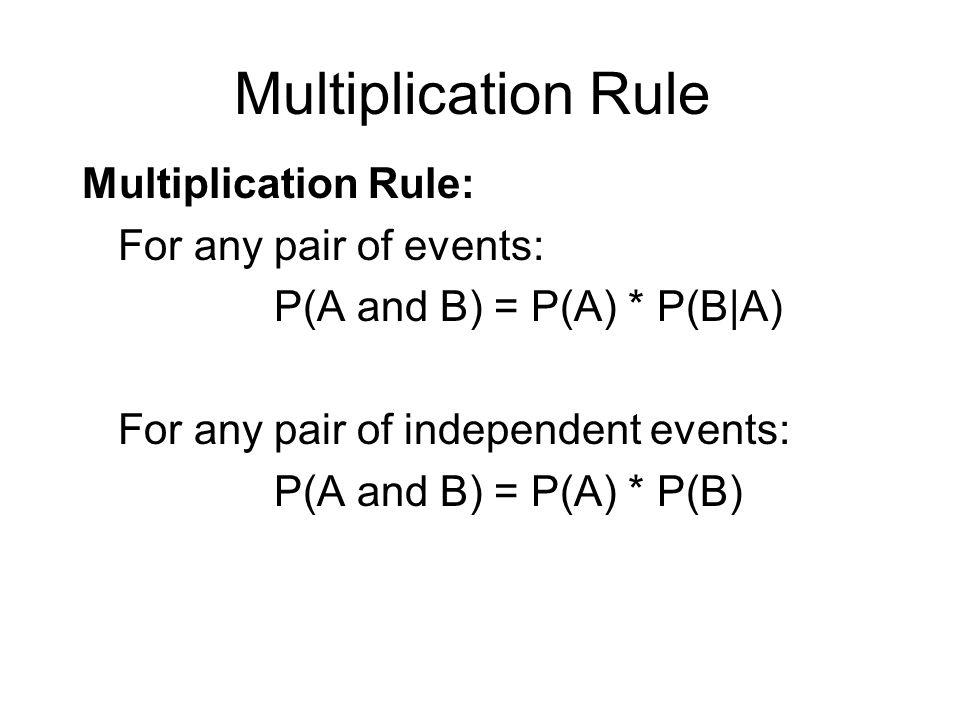 Multiplication Rule Multiplication Rule: For any pair of events: P(A and B) = P(A) * P(B|A) For any pair of independent events: P(A and B) = P(A) * P(
