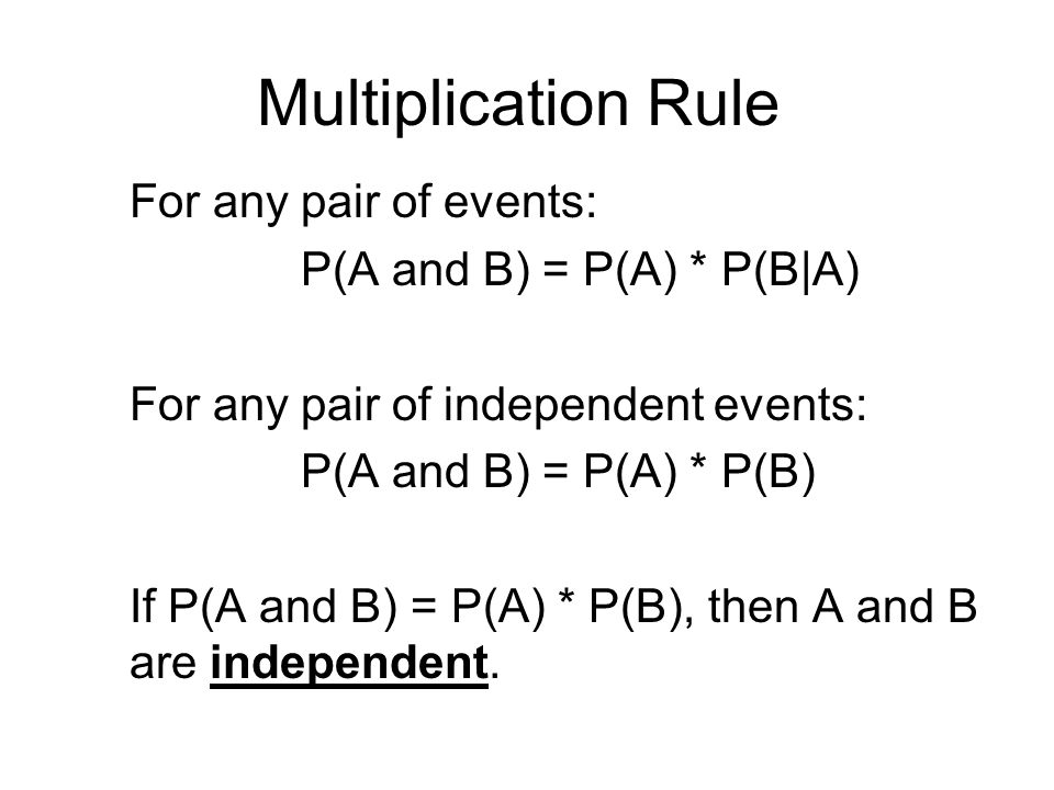 Multiplication Rule For any pair of events: P(A and B) = P(A) * P(B|A) For any pair of independent events: P(A and B) = P(A) * P(B) If P(A and B) = P(