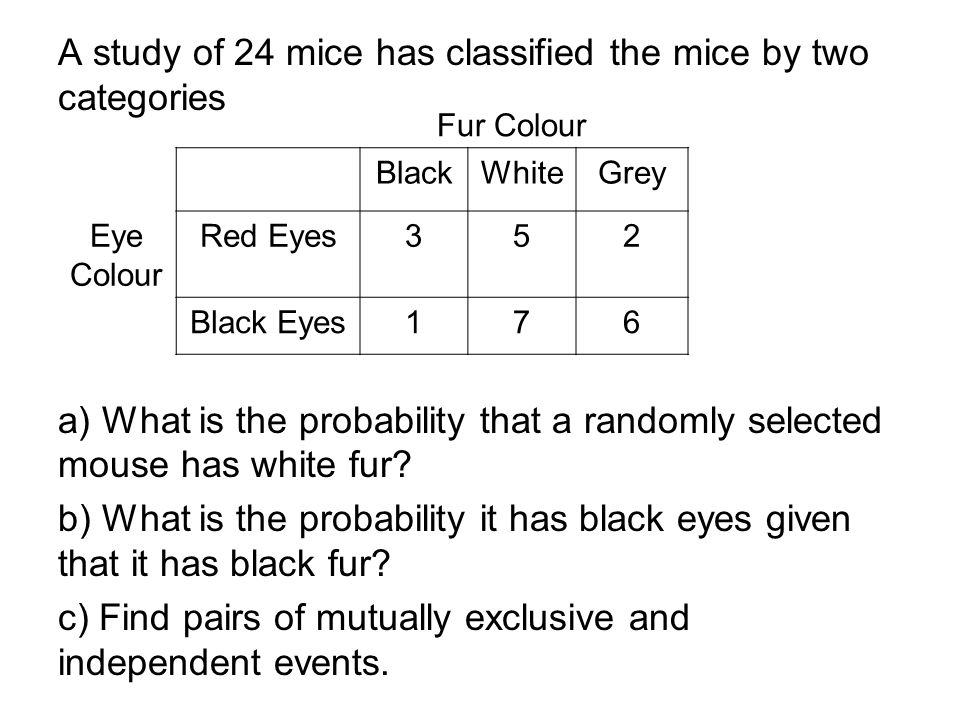 A study of 24 mice has classified the mice by two categories a) What is the probability that a randomly selected mouse has white fur? b) What is the p