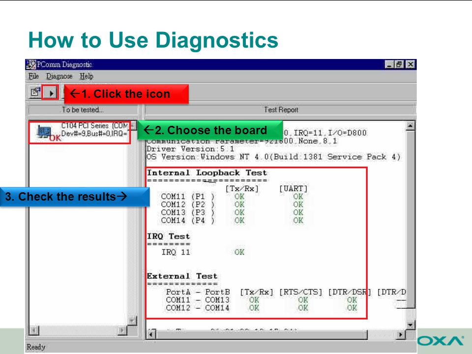 How to Use Diagnostics Confidential 2. Choose the board 3. Check the results 1. Click the icon